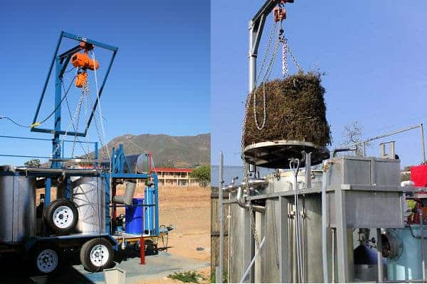 Lifting gantries for distilling essential oil plants